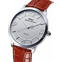 Farsler Retro Casual uomini e donne coppia di orologi al quarzo quadrante grande cinturino in pelle impermeabile orologio da polso (marrone)