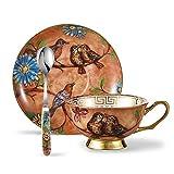 Panbado, Porzellan 200 ml Kaffeetasse mit Kaffeelöffel und Unterteller, Fine Bone China Porzellan Kaffee Set