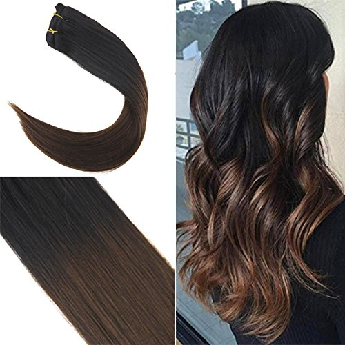 YoungSee 50 cm Clip in Extensions Echthaar Schwarz Ombre Dunkelbraun 7 Teile 120g Full Head Double Weft Hair Extensions Clip in Human Hair