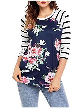 Issza Mujer Chicas Larga Raya De La Manga Con Dibujos Florales Camiseta Hermosas Tapas