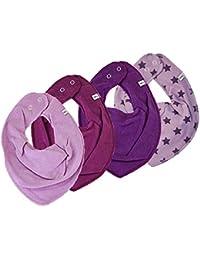 Pippi Juego de 4Chica Baby Triángulo Toalla Cuello Babero * Violet & Estrellas