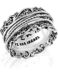 Paz Creations .925 Sterling Silver Spinner Ring with Silver Spinners, Made in Israel
