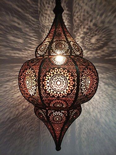 Orientalische Lampe Pendelleuchte Schwarz Malha 50cm E14 Lampenfassung | Marokkanische Design Hängeleuchte Leuchte aus Marokko | Orient Lampen für Wohnzimmer Küche oder Hängend über den Esstisch