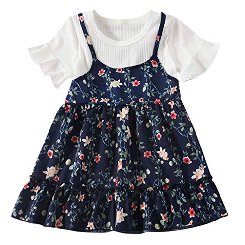 Innerternet Kleider Mädchen, Toddler Kleid Zitrone Gefälschter Zweiteiliger Blumendruckt Ärmellos Sommerkleid Party Prinzessin Dress Casual T-Shirt Frühlings Herbst Cocktailkleid (Kostüm Toddler Frozen Elsa)