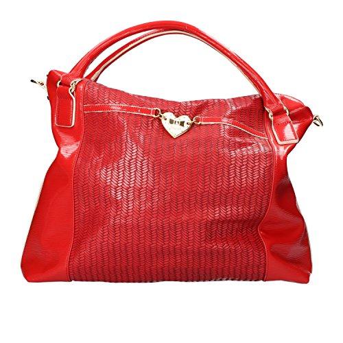 BLUGIRL borsa a spalla rosso pelle vernice AG938