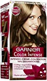 Garnier Color Intense dauerhafte Cremecoloration, 6.0 Dunkelblond / Dauerhafte Intensive Creme Coloration für permanente Haarfarbe (mit Perlmutt und Traubenkernöl) 3 x 1 Stück