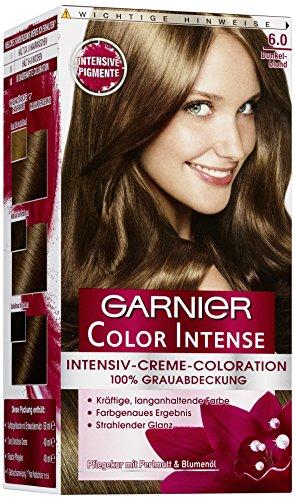 Garnier Color Intense dauerhafte Cremecoloration, 6.0 Dunkelblond, Dauerhafte Intensive Creme Coloration, 3er Pack (3 x 1 Stück)