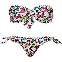 Bikini Farfalle Bianco Butterfly donna a fascia arricciato con slip o brasiliana Bikinicolors - Made in Italy