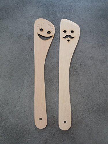 2 Spatules en bois Motifs Rigolos / Homme et Femme / 30 cm / Sables & Reflets