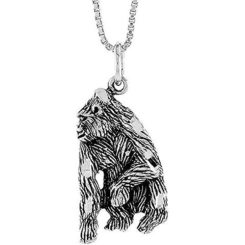 Silverback Gorilla-Ciondolo in argento Sterling 925