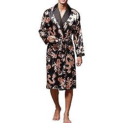 Sidiou Group Robe de Chambre Kimono Homme Peignoir Satin Robe Kimono Manche Longue Sortie de Bain Vêtements de Nuit Hommes (Noir, L)