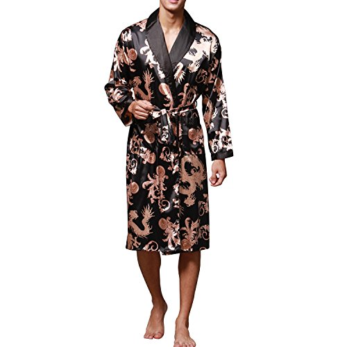 Sidiou Group Nacht Robe Satin Kimono Morgenmantel Herren Kimono Robe Lang Ärmel Bademantel Schlafanzug Nachtwäsche Satin Nachthemd (Schwarz, S)