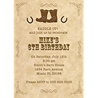 30 Invitations Personalised Kids Birthday Party Cowboy Rodeo Boots