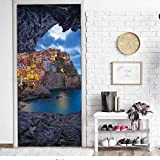 qazwsx Stone Far from The City of 3D Door Stickers Waterproof Backgrounds DIY Removable Murals Self-Adhesive Home Decoration Wallpaper 95x215cm
