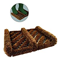 Home.smart Boot Scraper Brush Door Mat. Natural Coir Outdoor Shoe Cleaner 300 x 350mm