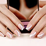 ArtPlus Uñas Postizas Falsas Artificial 24pcs Saturn Silver Elegant Touch False Nails with Glue Full Cover Medium Length Fake Nails Art