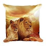 Löwen Sonnenuntergang Kissen 45x45 cm, Tiermotiv, Kissenhülle, Kopfkissen, Geschenk, Schenken, Couch, Sofakissen, weich, flauschig, groß, 45 x 45cm
