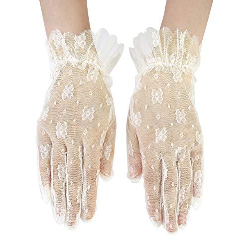 CHIC DIARY Handschuh Spitze Damen Brauthandschuh Beige Netzhandschuhe Kurz Spitzenhandschuhe Hochzeit Abendkleid Party