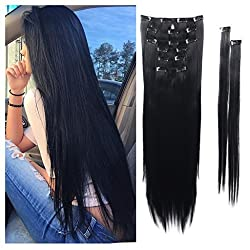 Haironline 8Pcs 18 Clips 17-26 Inch Curly Straight Full Head Clip in on Hair Extensions Hairpiece 26 Straight