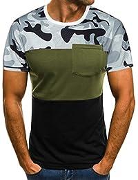 Camiseta de Manga Larga con Cuello en V Camuflaje de Manga Corta para Hombre Tops cabidos vendedores Calientes, Camiseta del…