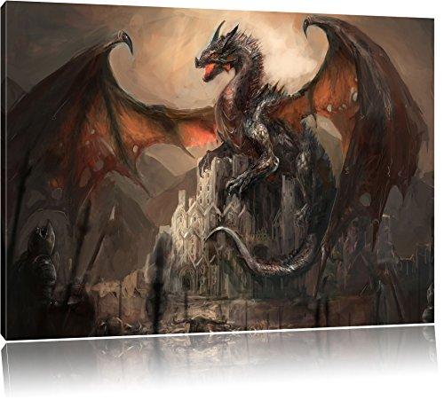 dragon-protecteur-sur-le-chteau-format-80x60-sur-toile-xxl-normes-photos-compltement-encadres-avec-c