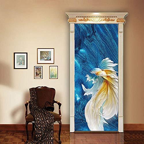 TYHMTO 3D Türaufkleber PVC View Goldfish Door Stickers Mural DIY Home Decor Wallpapers selh Adhesive Wooden Door Renew Decals waterproof-95 * 215 -