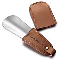 GAINWELL Pocket Metal Shoe Horn 12cm - Non-slip Leather Handle