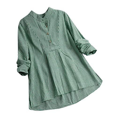 TOPSELD T Shirt Damen, Lange HüLse Der Frauen Loser Knopf Plaid Shirt LäSsig Tops T-Shirts Bluse