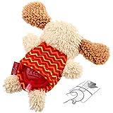 GiGwi 6222 Hundespielzeug Plush Friendz Hund aus Plüsch mit austauschbarem Quietscher, für kleine Hunde, beige / rot - 3