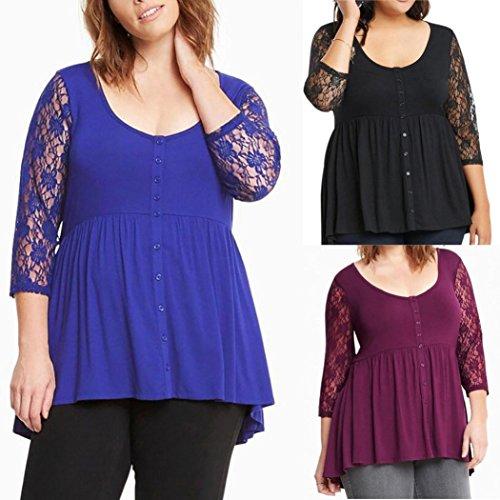 Overdose Women Top O-Neck 3/4 Lace Sleeve Shirt Blouse