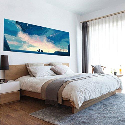 Kreative 3D Nachttisch Aufkleber DIY Dekorative Wandaufkleber Wasserdicht Abnehmbar Hintergrund Wand Selbstklebende Tapete Liebe Unter Den Sternen,90*180cm (Nachttische Unter $100)