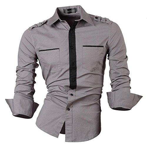 jeansian Herren Freizeit Hemden Shirt Tops Mode Langarmshirts Slim Fit 8514 8328_Gray