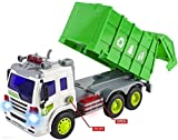 Enlarge toy image: WolVol Friction Powered Garbage Truck Toy with Lights and Sounds, Can open back