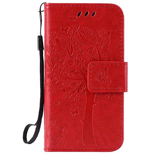 iPhone Case Cover Normallack-erstklassiger PU-lederner Fall-Prägemuster-Schlag-Standplatz-Fall-Abdeckung mit Karte und Bargeldschlitzen für IPhone 4 4S ( Color : Purple , Size : IPhone 4 4S ) Red