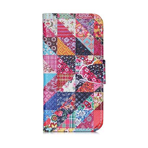 MOONCASE iPhone SE Coque, Modèle Case Portefeuille [Porte-cartes] Housse en Cuir Etui à rabat avec Béquille pour iPhone 5 / 5S / iPhone SE -YX05 YX08
