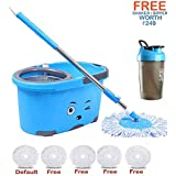 Hugo Mop Bucket Magic Spin Mop Bucket Double Drive Hand Pressure With 5 Microfiber Mop Head Household Floor Cleaning & 4 Color May Vary.