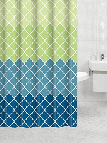 BBFhome Hem Gewichte Duschvorhang 168 x 180 cm Fancy Stoff Geometrische Muster und Quatrefoil Entwurf und den Farben (Gen V / Grün) (Stoff Geometrisches Muster)