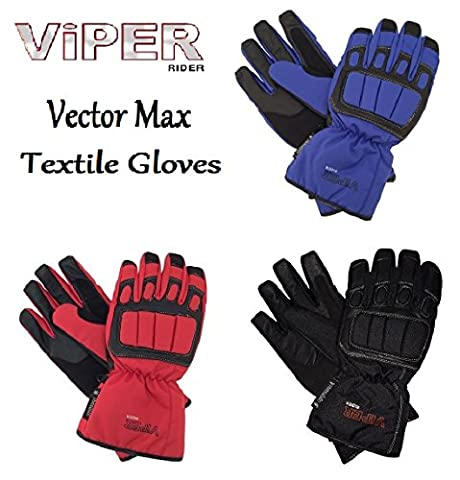 VIPER VECTOR MAX TEXTLE GLOVES Motorbike Scooter Sports Lightweight All Year Touring Thermal Glove (BLACK, S)