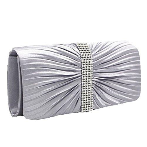 Moda Pieghe Borsette Da Sera Cristalli Strass Borsa Portafoglio Multicolore Silver