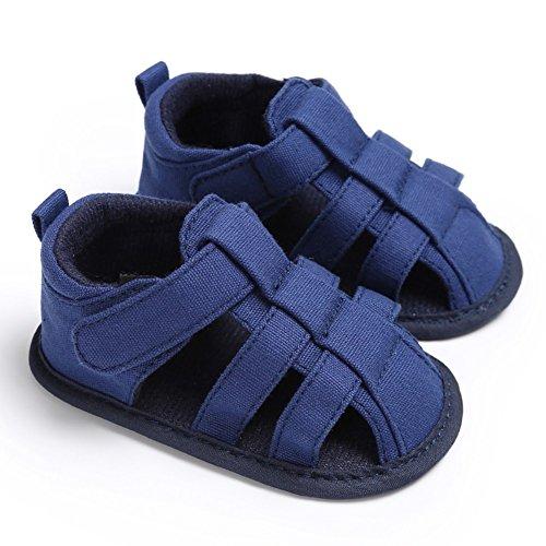 MiyaSudy Kinder Baby Jungen Schuhe Sommer Outdoor Klettverschluss Canvas Sandalen Erste Wanderer 0-18 Monate Blau #1