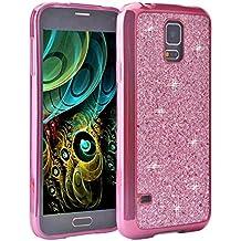 Galaxy S5 I9600 Case, Galaxy S5 I9600 Funda Silicona, Asnlove carcasas y funda Gel silicone brillo back case shell skin diseño bling brillante tapa trasera para Samsung Galaxy S5 I9600, Rosa