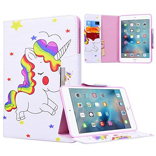 Yokata Apple iPad Mini 1 / Mini2 / Mini3 Hülle Case Schutzhülle Tasche mit Standfunktion und Auto Sleep / Wake Up Funktion Slim Ultra Dünn Hochwertiges PU Leder Etui Ledertasche für iPad Mini 1 / Mini2 / Mini3 (7,9 Zoll) Tablet Etui - Regenbogen und Pferd