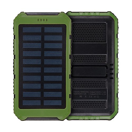 ELECTROPRIME Solar Charger,10000mAh Solar Power Bank Charger Waterproof Portable Backup External Battery Pack for Cellphone, Tablet, Camera at Emergency Outdoors