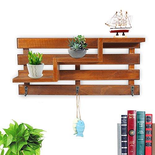 Mensole da muro in legno stoccaggio rack ripiani in legno organizzare scaffale in stile retrò disegno di tendenza per supporto libri cd ornamenti piante decorazione da parete (marrone)