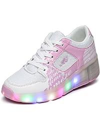 KE Zapatillas con Ruedas Sola Ronda Para Skate Zapatos Deportivas con Luces LED Niños Mujer Hombre