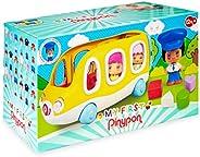 Pinypon - My First, Happy Bus, Mi primer autobús escolar y figura de conductor, con espacio para 3 figuras, ru