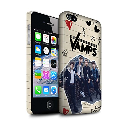 Offiziell The Vamps Hülle / Matte Snap-On Case für Apple iPhone 4/4S / Pack 5Pcs Muster / The Vamps Doodle Buch Kollektion Schwarz Stift
