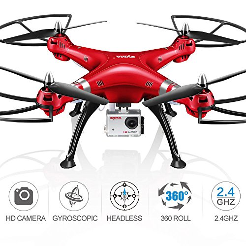Syma X8HG (Upgrade Syma X8G) 2,4 GHz 6-Achsen-Gyro RC Ferngesteuerte Quadcopter Drone Quadrocopter Drohne mit 8MP HD-Kamera Einen Höhenstabilisator-Rote - 8