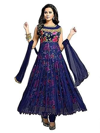 Rensila Fab Women's Georgette Satin Net Anarkali ( RM_RFA005 Anarkali Blue_Blue_Free Size )