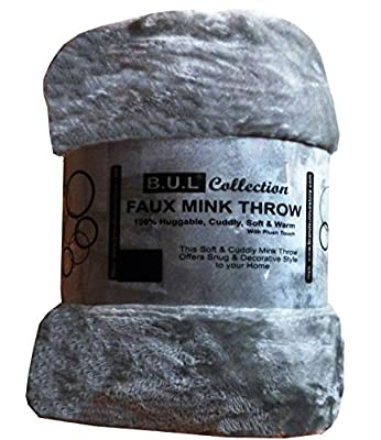 Luxury Faux Fur Throw 200x240cms Grey Silver Extra Large 3 Seater Sofa King Bed Blanket - inexpensive UK light store.